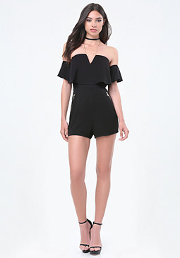 bebe Amalia Off Shoulder Romper