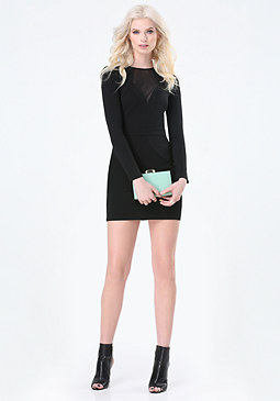bebe Gina Mesh Inset Ponte Dress