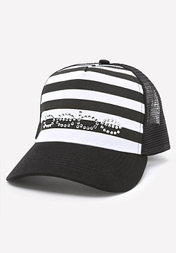 bebe Logo Striped Baseball Cap