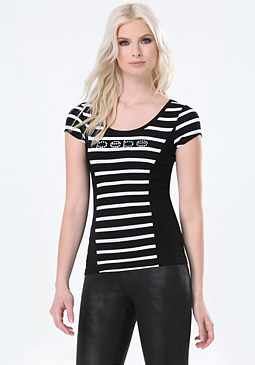 bebe Striped Ruched Princess Tee