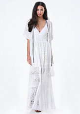 bebe Fringe Lace & Trim Cover Up