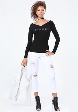 bebe Logo Wide V-Neck Tee