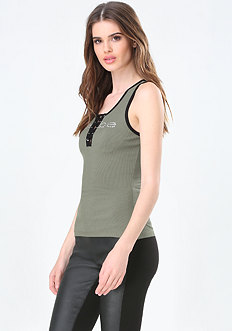 Logo Contrast Lace Up Tank