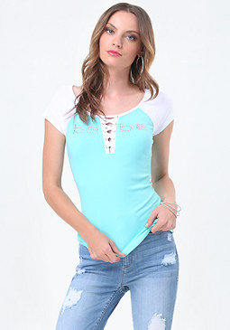 bebe Logo Colorblock Lace Up Tee