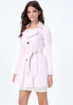 bebe Aine Pleated Sleeve Coat