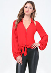 bebe Slit Shoulder Tie Blouse