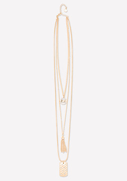 bebe Logo Layered Tag Necklace