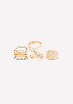 bebe Crossing Paths Ring Set