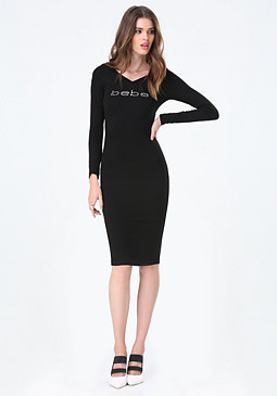bebe Logo Double V Midi Dress