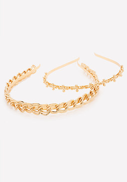 bebe Goldtone Headband Set