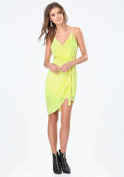 bebe Asymmetric Surplice Dress