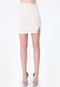 bebe Petite Perforated Skirt