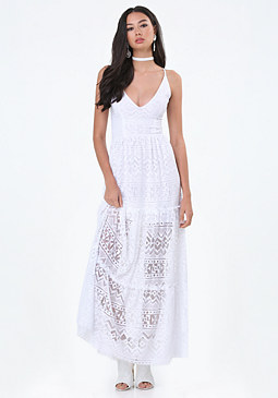 bebe Gia Lace Maxi Dress