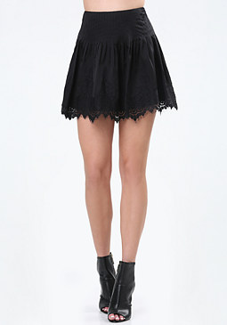 bebe Lace Trim Pleated Skirt
