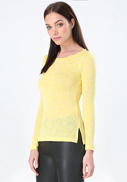 bebe Slub Knit Long Sleeve Top