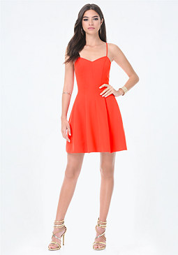 bebe Twill Sweetheart Dress