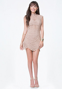 bebe Crochet Lace Mini Dress