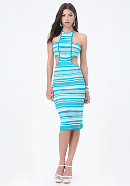 bebe Knit Bandeau Midi Dress