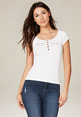bebe Logo Ribbed Lace Up Tee