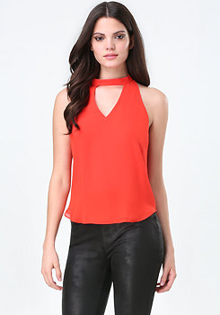 bebe V-Neck Halter Top