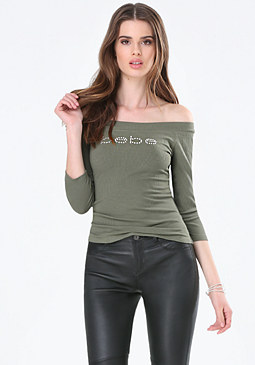 bebe Logo Off Shoulder Top