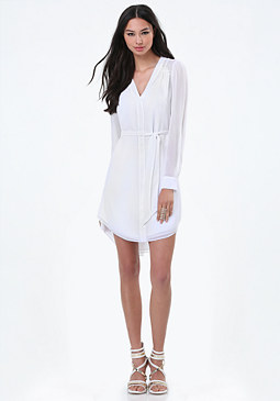 bebe Chiffon Shirtdress