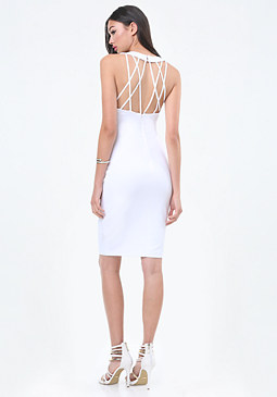 bebe Back Crisscross Strap Dress