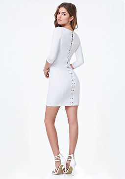 bebe Power Knit Lace Up Dress