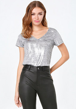 bebe Matty Metallic V-Neck Tee