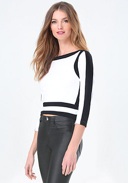 bebe Colorblock Panel Top