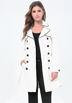 Piped Flared Trench Coat