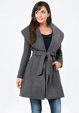 bebe Shawl Collar Side Slit Coat