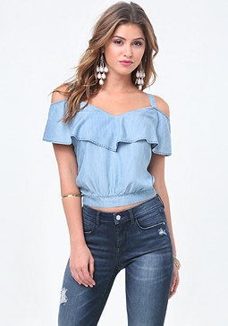 bebe Chambray Ruffle Top