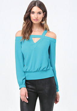 bebe Cold Shoulder V-Neck Top