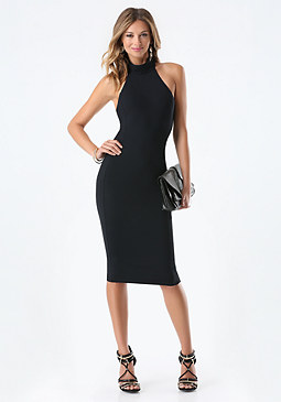 bebe Petite Mock Neck Midi Dress
