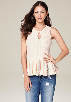 bebe Lace Peplum Top