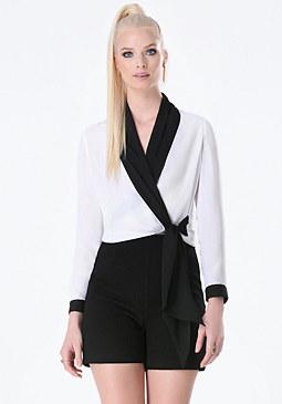 bebe Front Tie Wrap Shirt