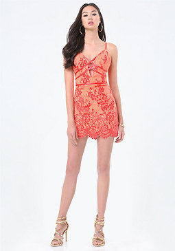 bebe Lace Crisscross Dress