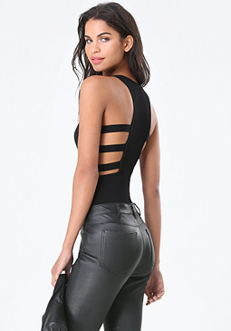 bebe Side Strap Knit Bodysuit