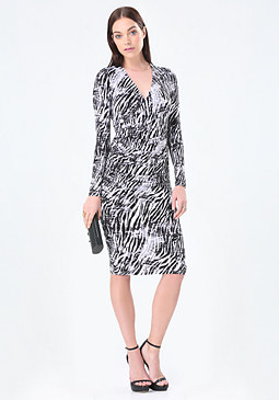 bebe Print Surplice Midi Dress