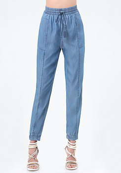 bebe Chambray Stretch Cuff Pants