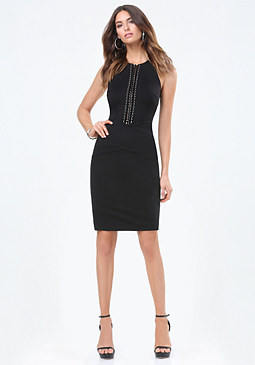 bebe Ponte Laced Grommet Dress
