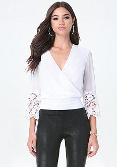Lace Cuff Surplice Top