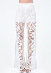 bebe Crochet Flare Leg Pants