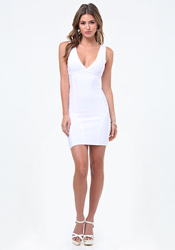 bebe Double V Bandage Dress