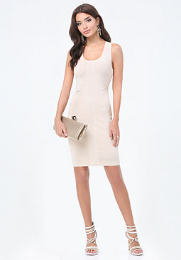bebe Side Mesh Sweater Dress