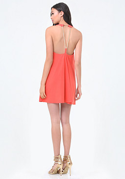 bebe Chain Back Trapeze Dress