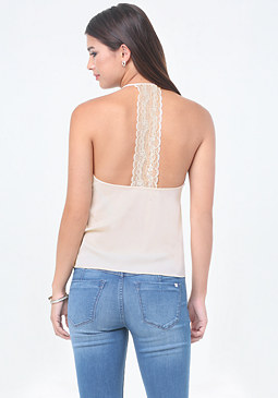 bebe Clara Lace T-Back Top