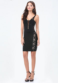 Lace Inset Plunge Dress