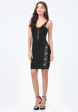 bebe Lace Inset Plunge Dress